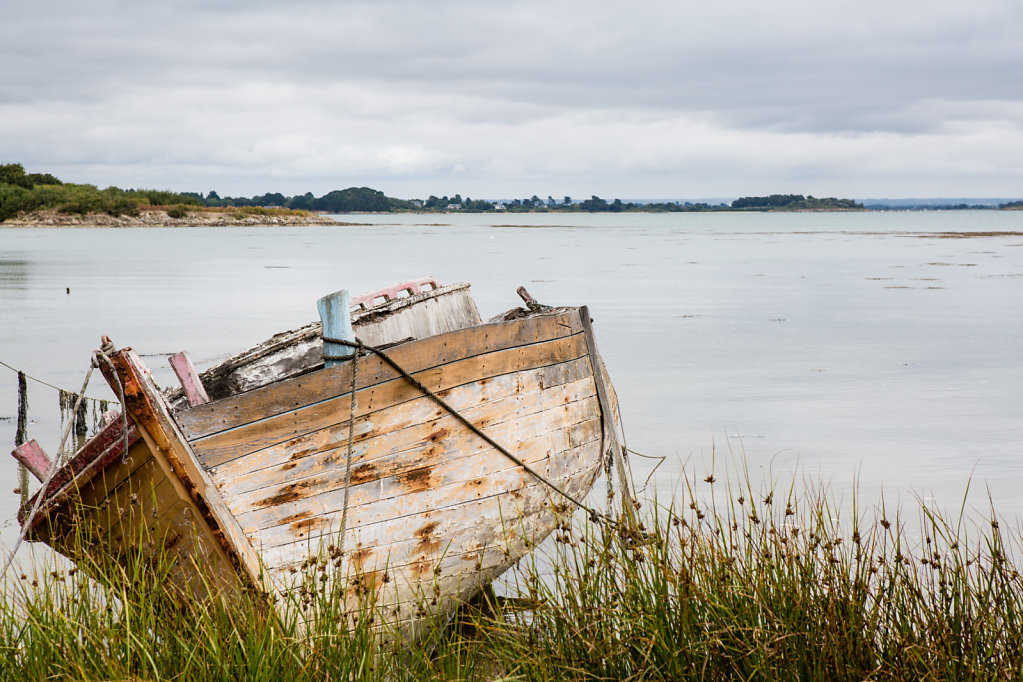 Abandonned boat in the Gulf of Morbihan (Île-aux-Moines - Morbihan)
